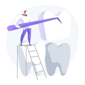 dental veneers, teeth metaphors. Vector isolated concept metaphor illustrations